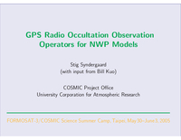 GPS radio occultation observation operators for NWP models [presentation]