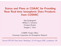Status and plans at CDAAC for providing near real-time ionospheric data products from COSMIC [presentation]