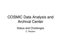 COSMIC Data Analysis and Archival Center: Status and challenges [presentation]