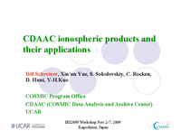 CDAAC ionospheric products and their applications [presentation]