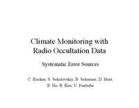 Climate monitoring with radio occultation data: Systematic error sources [presentation]