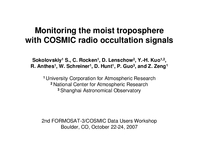 Monitoring the moist troposphere with COSMIC radio occultation signals [presentation]