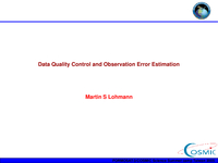 Data quality control and error estimation [presentation]