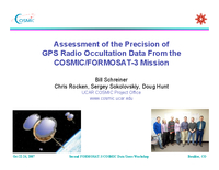 Assessment of the precision of GPS radio occultation data from the COSMIC/FORMOSAT-3 Mission [presentation]