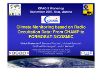 Climate Monitoring based on radio occultation data: From CHAMP to FORMOSAT-3/COSMIC [presentation]
