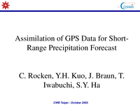Assimilation of GPS data for short-range precipitation forecast [presentation]