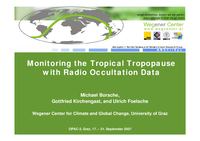 Monitoring the tropical tropopause with radio occultation data [presentation]