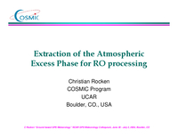 Extraction of the atmospheric excess phase for RO processing [presentation]