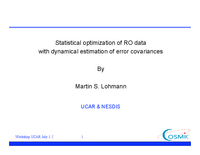 Statistical optimization of radio occultation data with dynamical estimation of error covariances [presentation]