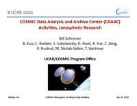 COSMIC Data Analysis and Archive Center (CDAAC) activities, ionospheric research [presentation]