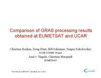 Comparison of GRAS processing results obtained at EUMETSAT and UCAR [presentation]