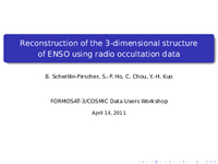 Reconstruction of the 3-dimensional structure of ENSO using radio occultation data [presentation]