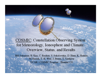 COSMIC: Constellation Observing System for Meteorology, Ionosphere and Climate: Overview, Status, and Results [presentation]