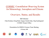 COSMIC: Constellation Observing System for Meteorology, Ionosphere, and Climate: Overview, status, and results [presentation]