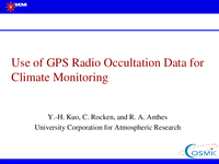 Use of GPS radio occultation data for climate monitoring [presentation]