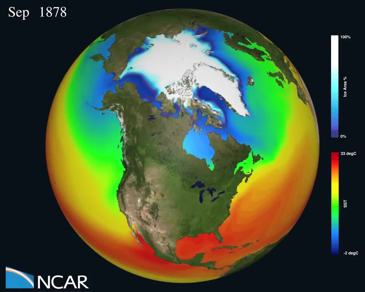 20th-21st century CCSM4 Model sea ice cover change and SST