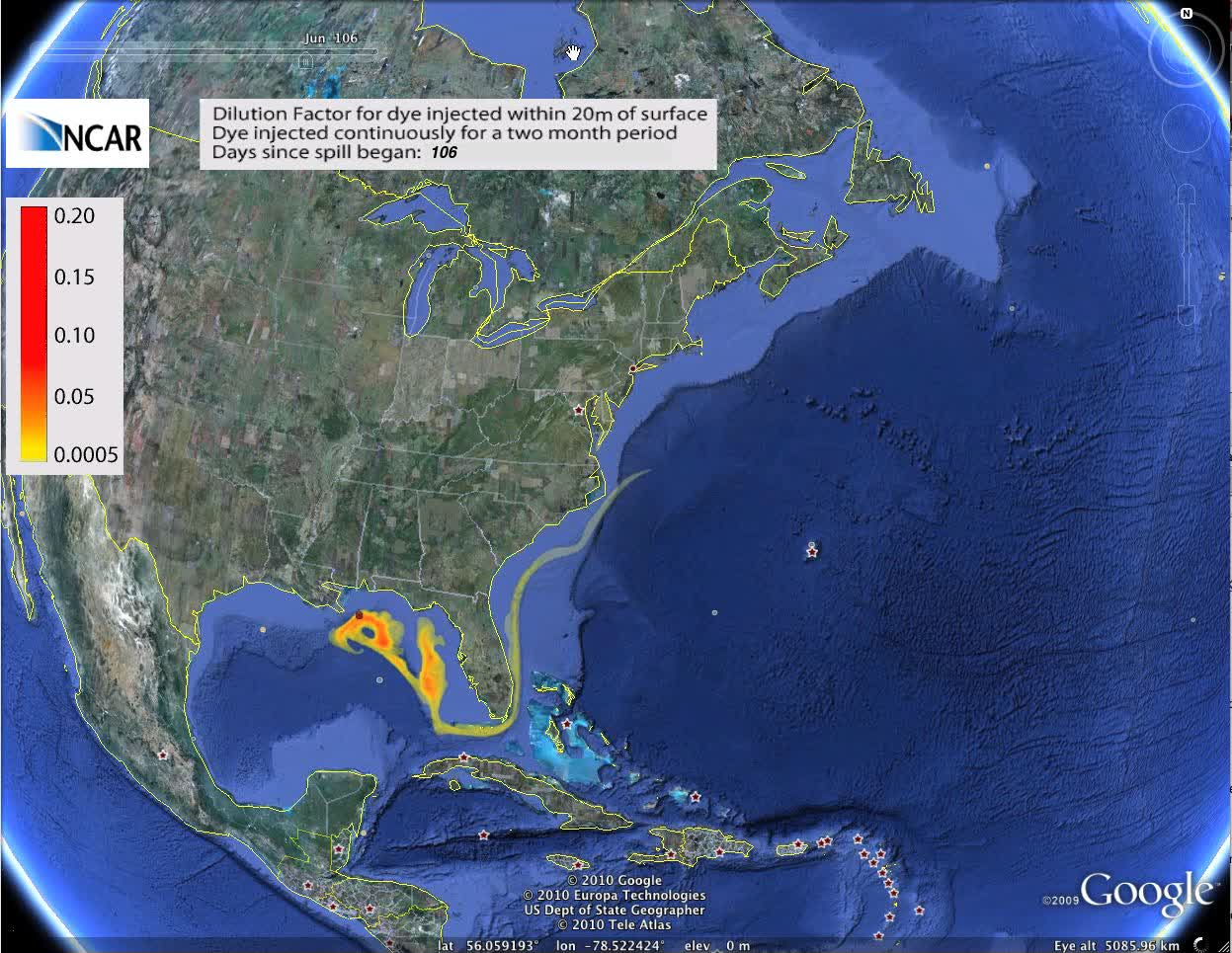 Ocean currents likely to carry oil to Atlantic (Google Earth Version)