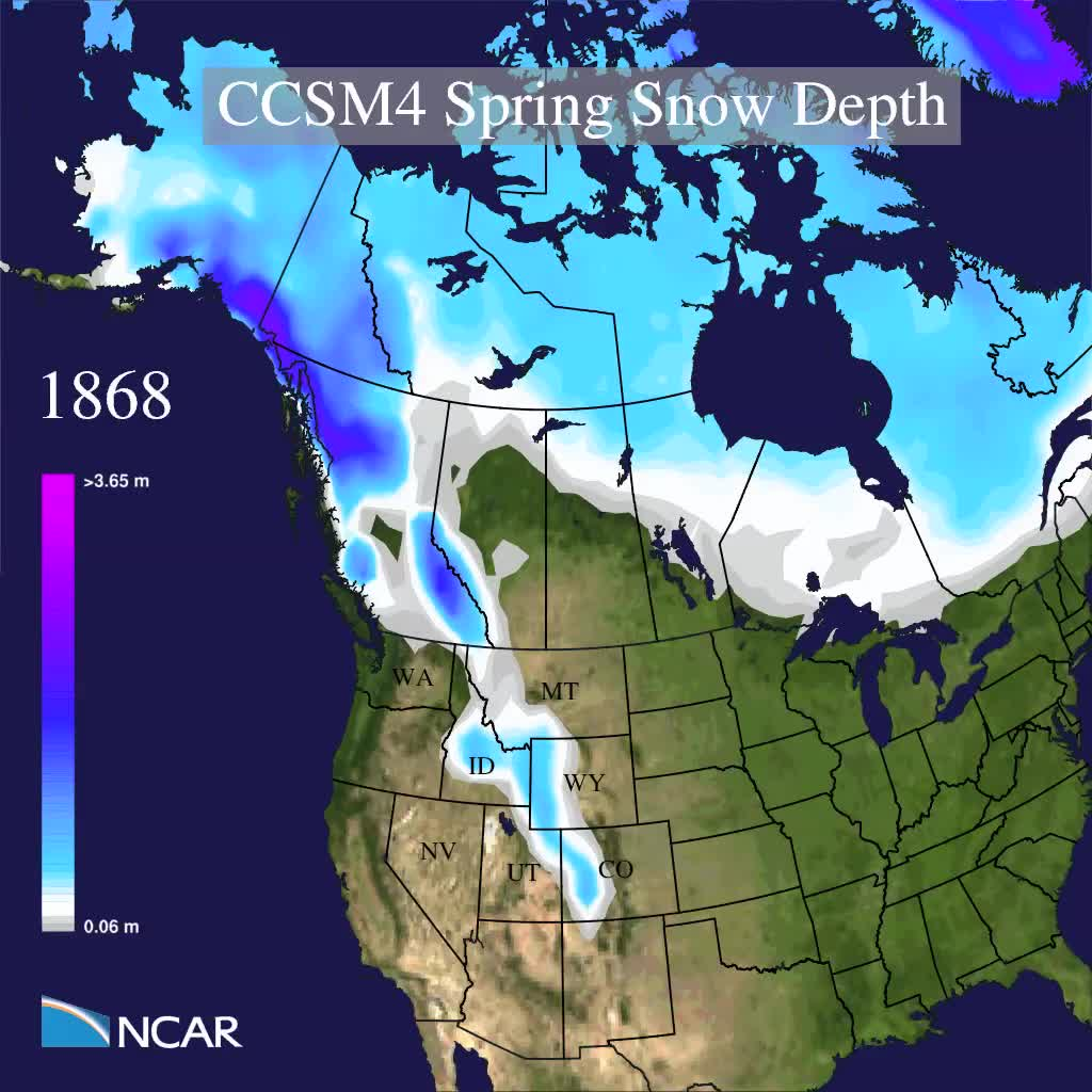 CCSM4 spring (March-April) snow depth RCP8.5 high emissions scenario 1850-2100 four-year running average