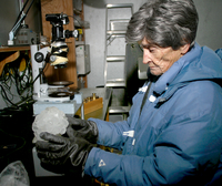 Scientist with hailstone (DI01177)
