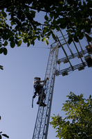 CHATS researcher climbs tower to measure leaf area index (DI01659)