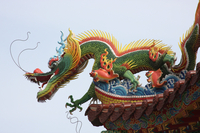 Dragon on temple rooftop, Kaohsiung, Taiwan (DI01820)