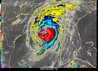 Hurricane Katrina at landfall, infrared band  (DI01930) Image generated by Jeff Weber