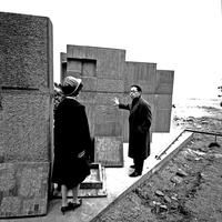 Architect I.M. Pei inspects test slabs, 1965 (DI02092)