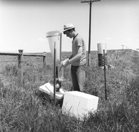 Researcher in northeastern Colorado hail project, 1970 (DI02104)