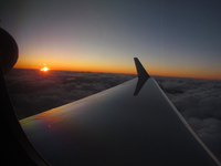 Sunrise over Antarctica  from the Gulfstream V (DI02554) Photo by Andrew Watt