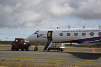 GV on the tarmac at Punta Arenas Airport in Chile during the ORCAS field            campaign