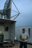 S-Pol radar with a researcher standing near (DI00783)