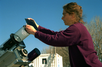 Solar telescope prepared for viewing by a scientist (DI00803)