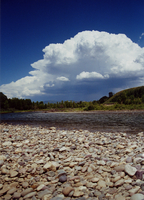 Cumulonimbus clouds and river, Grand Teton National Park, Wyoming (DI00812), Photo by Vanessa Carney