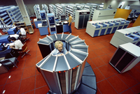 CRAY-1A computer at center of NCAR computer room, 1978 (DI02108)