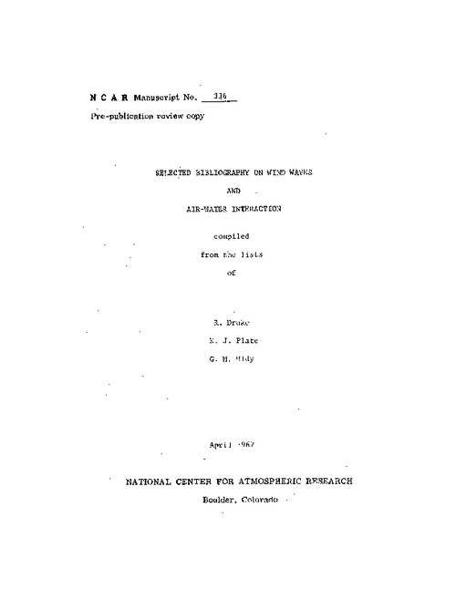 Selected bibliography on wind waves and air-water