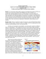 Progress report for the Land Cover Forcing from the SRES Scenarios in Climate Models component of the Weather and Climate Impact
