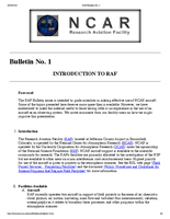 RAF Bulletin 1: Introduction to RAF (updated 2005)
