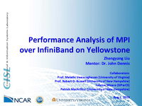 Performance analysis of MPI over InfiniBand on Yellowstone [presentation]