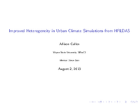Improved heterogeneity in urban climate simulations from HRLDAS [presentation]