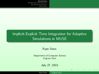 Implicit-explicit time integration for adaptive simulations in MUSE