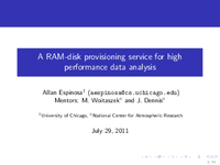 A ramdisk provisioning service for high performance data analysis