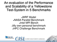 An evaluation of the performance and scalability of a Yellowstone test-system in five benchmarks