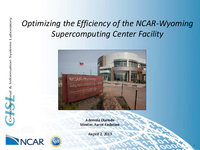 Optimizing the efficiency of the NCAR-Wyoming Supercomputing Center Facility