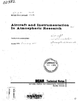 Aircraft and Instrumentation in Atmospheric Research