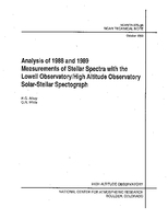Analysis of 1988 and 1989 Measurements of Stellar Spectra With the Lowell Observatory/High Altitude Observatory Solar-stellar Spectrograph