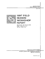 1980* Field Season Wkshp Report / Nov. 28, 29, & 30, 1978 High Country Inn, Winter Park, CO