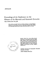 Proceedings of the Conference on the Climate of the Eleventh and Sixteenth Centuries