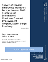 Survey of coastal emergency managers perspectives on NWS storm surge information: Hurricane Forecast Improvement Program/Storm Surge Roadmap