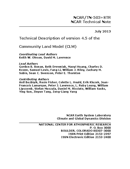 technical description of version 45 of the community land model clm opensky repository